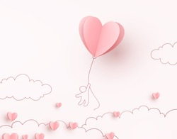 Valentine heart flying balloon with man on pink background. Vector love postcard for Happy Mother's, Valentine's Day or birthday greeting card design.