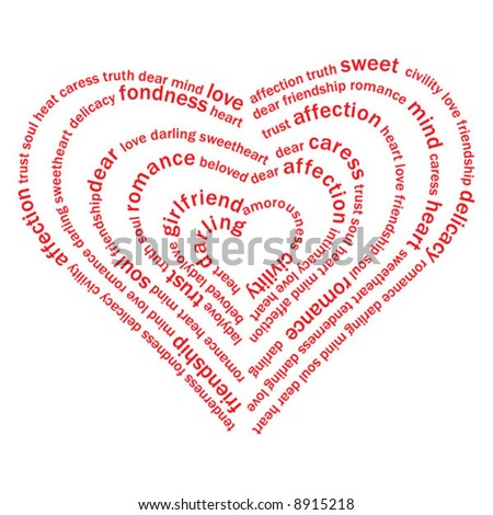 Valentine heart from sweet love words on white background stock