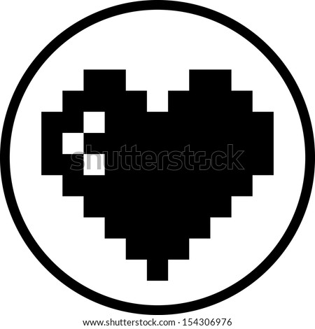 valentine heart pixel vector