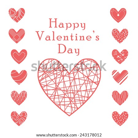 Valentine heart vector set  ,love symbol icon.