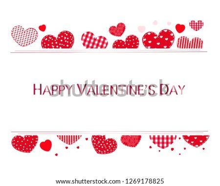 Valentine hearts and Happy Valentine's Day text. Valentines Day poster design background #1269178825