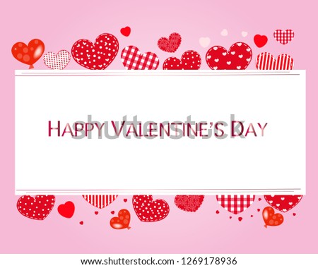 Valentine hearts and Happy Valentines Day text. Valentines Day wallpaper with pink background #1269178936