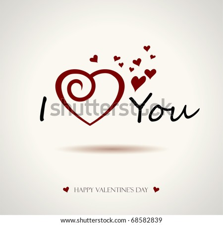 valentine I Love You Vector Lettering stylish text