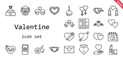 valentine icon set. line icon style. valentine related icons such as love, couple, engagement ring, caramelized apple, lipstick, heart, cupid, wedding car, romantic music, love birds, tic tac toe