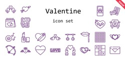 valentine icon set. line icon style. valentine related icons such as love, engagement ring, bow, lipstick, heart, wedding car, cupid, lips, romantic music, rings, love birds, tic tac toe, love letter