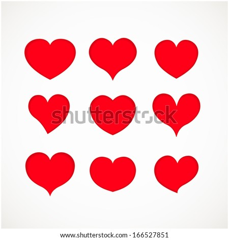 Valentine icon set. Vector illustration. Red vector hearts with shadows for your holiday design
