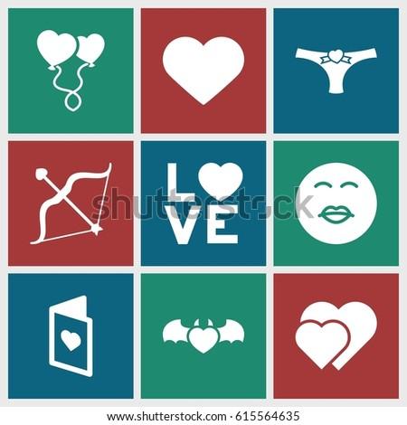 valentine icons set set of 9