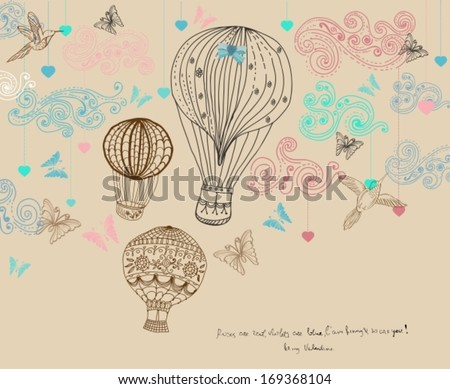 Valentine illustration, hot Air Balloon in sky, hand drawn Background for Design with hearts and birds, vector