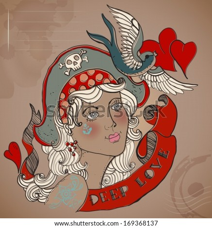 Valentine illustration, Old-school styled tattoo woman with bird and ribbon, Vintage background, vector