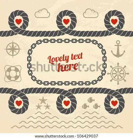 Valentine in marine style. Vector illustration.