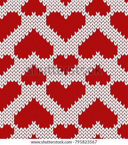 Valentine jacquard seamless pattern with hearts shapes. Red and white background. Knitted texture.Vector illustration.