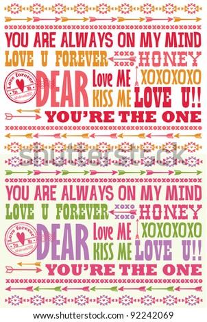 Valentine Letterpress Card - stock vector