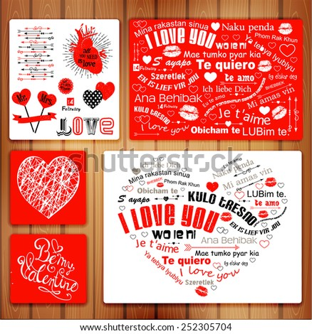 Valentine Letterpress Card Kulo tresno, ljubim te, BHEBBEK, LUBim te,Ya tebya lyublyu, Te amo, Wo ie ni, S' ayapo, Obicham te, Te quiero, Mi amas vin, Naku penda  means 'I love you' Zdjęcia stock ©