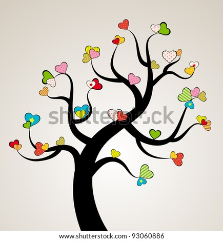 Valentine love tree leaf from hearts. Vector