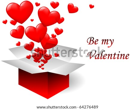 Valentine open box - stock vector
