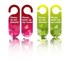 Valentine or wedding hotel door tags, vector