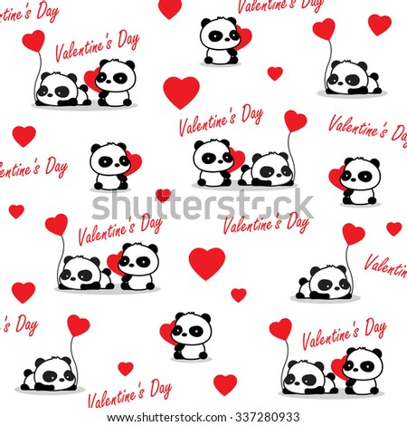 valentine panda with love