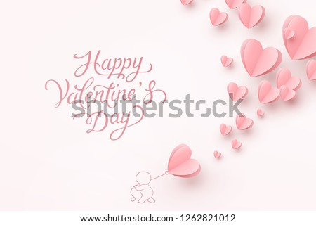 Valentine postcard with paper flying hearts, man and balloon on pink background. Vector symbols of love for Happy Valentine's Day greeting card design.