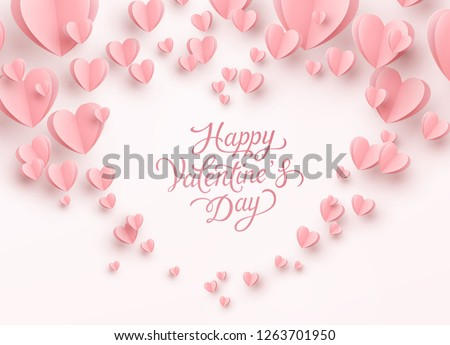 Valentine postcard with paper flying hearts on pink background. Vector symbols of love for Happy Valentine's Day greeting card design.