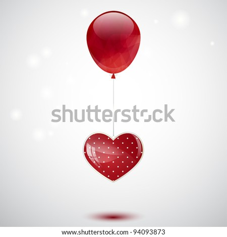 Valentine's background with balloon and dotted glossy heart