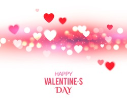 Valentine's Background with Blur Hearts. Greeting Card. Vector illustration