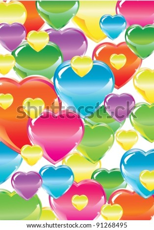 Valentine's background with bright colorful hearts over white, vector, eps10