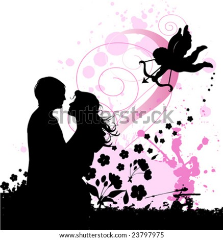 Valentine's background with cupid and couple in love. Urban City Party, vector images scale to any size. - stock vector