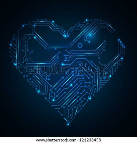 Valentine's blue background with circuit board on heart shape. Vector illustration for your artwork. Look at my portfolio to find more.