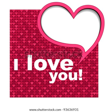 Valentine's card background with heart. Vector illustration.