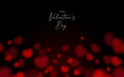 Valentine's card black and dark night seamless background with red bokeh heart shape