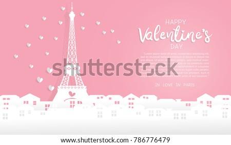 valentine's card with eiffel