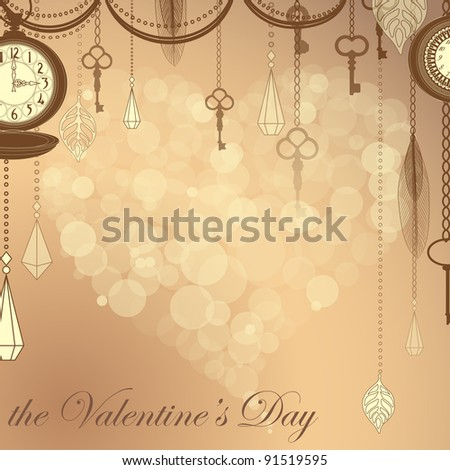 Valentine's card with flare heart ans antique clocks and keys
