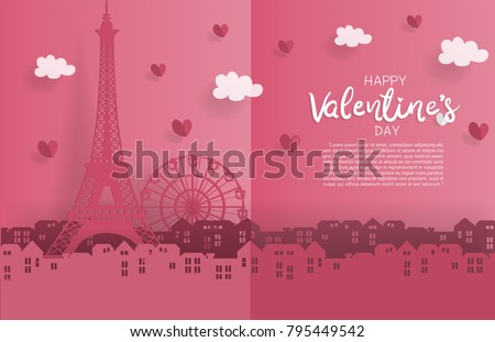 valentine's card with paper cut ...