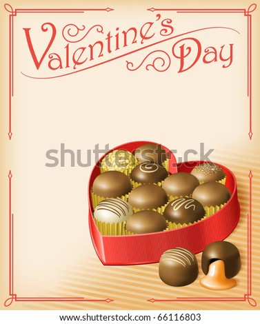 Valentine's Chocolates -- Vector illustration of a heart-shaped Valentine's box of chocolates, in a vintage Victorian style. Multi-layered for editing. File is RGB, but all colors are CMYK-safe. - stock vector