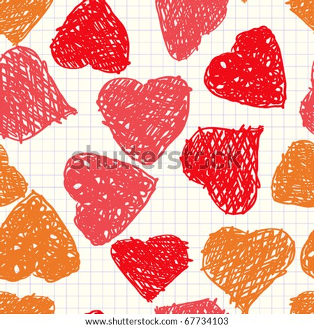 Valentine's day abstract background with hearts as picture of baby. Seamless pattern. Vector illustration.