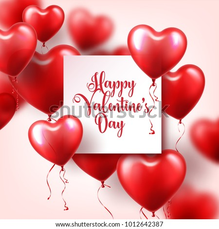 Stock Photo Valentine's day abstract background with red 3d balloons. Heart shape. February 14, love. Romantic wedding greeting card.Women's, Mother's day.