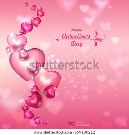 Valentine's Day. Abstract background with shiny hearts. Vector Eps 10.