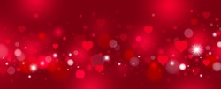 Valentine's day and love background design of red hearts and bokeh vector illustration