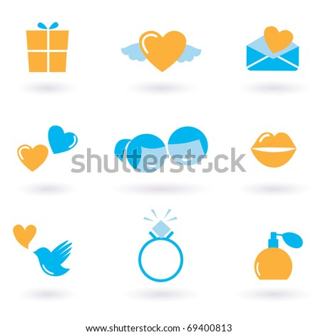 Valentine's day and Love icon collection - orange and blue. Vector