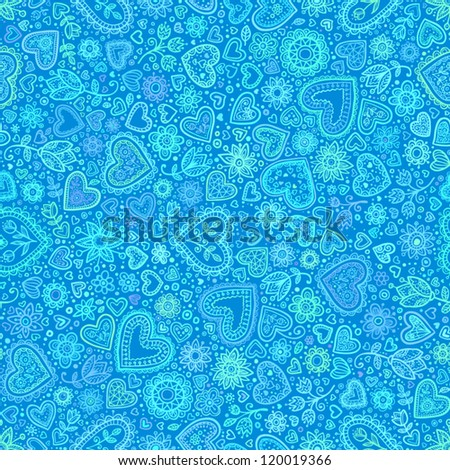 Valentine's day artistic hand drawn blue hearts background, vector seamless pattern