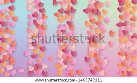 Valentine's Day Background. Banner Template. Many Random Falling Pink Hearts on Hologram Backdrop. Heart Confetti Pattern. Vector Valentine's Day Background.