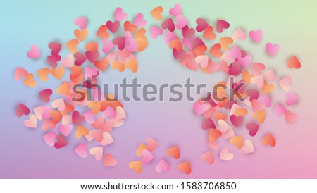 Valentine's Day Background. Banner Template. Many Random Falling Red Hearts on Hologram Backdrop. Heart Confetti Pattern. Vector Valentine's Day Background.