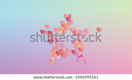 Valentine's Day Background. Flyer Template. Many Random Falling Pink Hearts on Hologram Backdrop. Heart Confetti Pattern. Vector Valentine's Day Background.