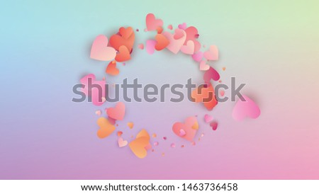 Valentine's Day Background. Heart Confetti Pattern. Invitation Template. Many Random Falling Pink Hearts on Hologram Backdrop. Vector Valentine's Day Background.