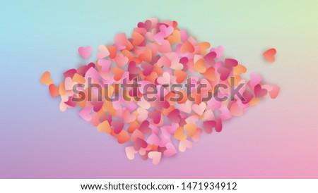 Valentine's Day Background. Heart Confetti Pattern. Invitation Template. Many Random Falling Purple Hearts on Hologram Backdrop. Vector Valentine's Day Background.