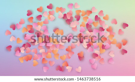 Valentine's Day Background. Heart Confetti Pattern. Many Random Falling Purple Hearts on Hologram Backdrop. Poster Template. Vector Valentine's Day Background.