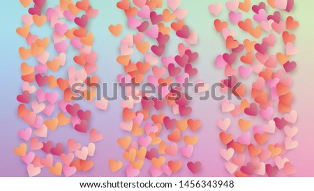Valentine's Day Background. Heart Confetti Pattern. Poster Template. Many Random Falling Beautifull Hearts on Hologram Backdrop. Vector Valentine's Day Background.