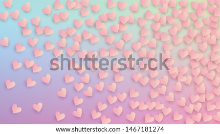 Valentine's Day Background. Heart Confetti Pattern. Poster Template. Many Random Falling Red Hearts on Hologram Backdrop. Vector Valentine's Day Background.