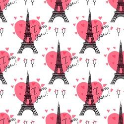 Valentine's Day background. Illustration black Eiffel Tower. Pink heart romantic spots. Vector seamless pattern.