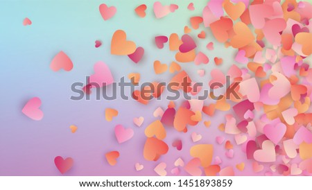 Valentine's Day Background. Many Random Falling Pink Hearts on Hologram Backdrop. Heart Confetti Pattern. Card Template. Vector Valentine's Day Background.